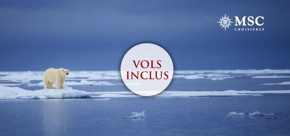 Forfait Boissons Tout Inclus offert en Cabine Balcon** ! Vols inclus 15 jours Vers les fjords et l'Océan Arctique A bord du Tout Nouveau MSC Meraviglia 5*