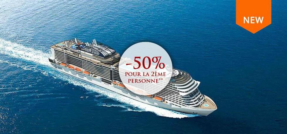 -50% pour la 2ème personne** ! A bord du tout nouveau bateau MSC Bellissima 5* Croisière Espagne, Italie, Malte