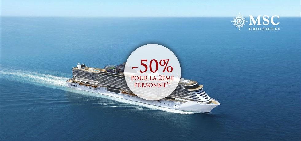 -50% pour la 2ème personne** ! Au départ de Cannes ! A bord du Tout Nouveau et Spectaculaire MSC Seaview 5* Majorque, Espagne, Italie