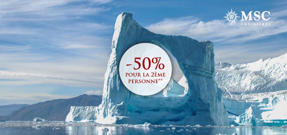 -50% pour la 2ème personne** ! Croisière inédite ! VOLS INCLUS 22 jours Islande et Groënland