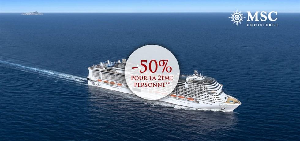 -50% pour la 2ème personne** 9 jours A bord du Tout Nouveau MSC Grandiosa 5*