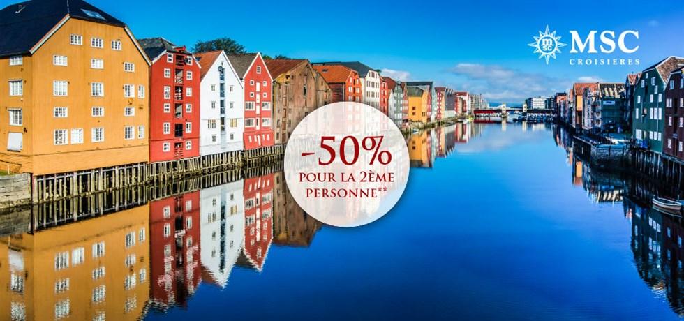 -50% pour la 2ème personne** ! VOLS INCLUS 12 jours Croisière Fjords de la Norvège et Cap Nord