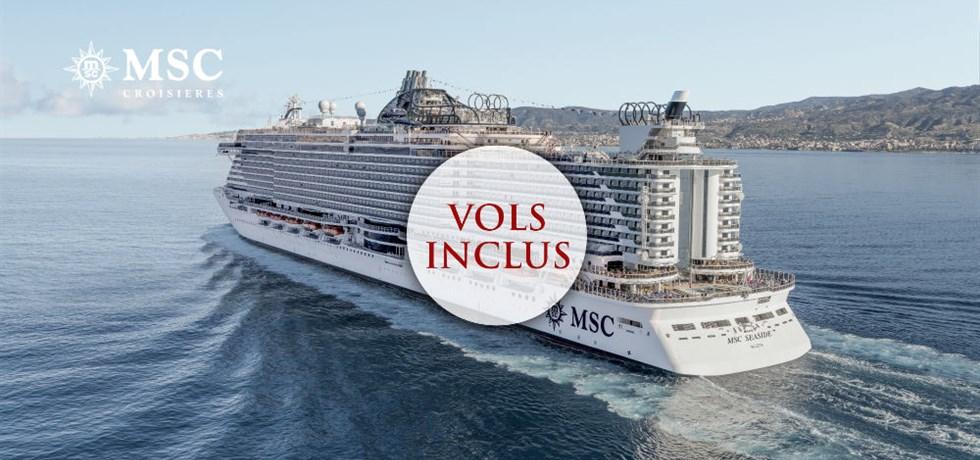 Crédit à bord de 150€ offert ! Yacht Club : Luxe & Exclusivité** Vols + 1 nuit d'hôtel A bord du nouveau MSC Seaside 5* Les Caraïbes