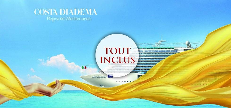 Remise de 10% jusqu'au 24 avril ALL-INCLUSIVE** ! A bord du Costa Diadema 5* Merveilleuse Méditerranée PRINTEMPS/ETE 2019