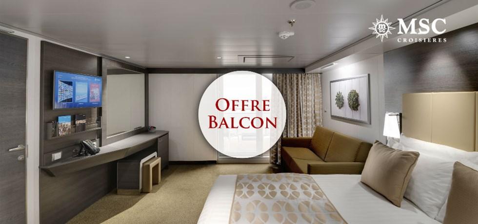 Offre limitée Spécial Balcon** + Remise de 15% jusqu'au 25 mars*** A bord du tout nouveau bateau MSC Bellissima 5* Croisière Espagne, Italie, Malte