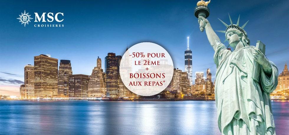 -50% pour la 2e pers. et Boissons aux repas offertes** Vol inclus 18 jours Miami, New York, Bermudes, Açores, Portugal, Espagne