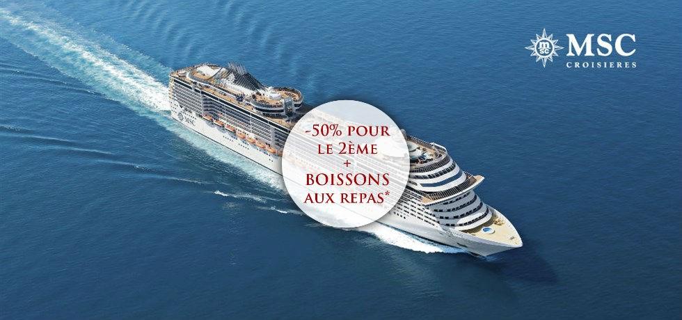 -50% pour la 2e pers. et Boissons aux repas offertes** ! Printemps/Ete A bord du MSC Fantasia 5* Croisière Majorque, Espagne, Italie