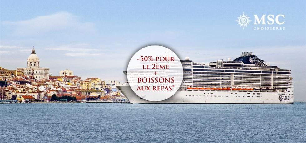 -50% pour la 2e pers. et Boissons aux repas offertes**  Au départ du Havre ! 15 jours Royaume-Uni, Portugal, Espagne, Hollande, Allemagne