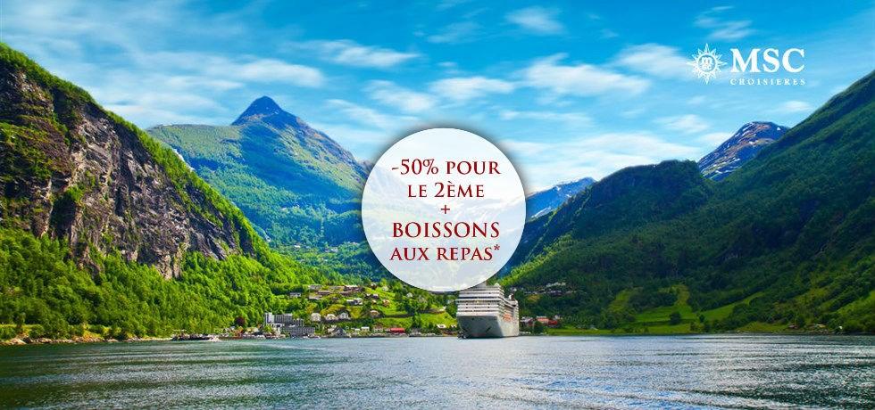 -50% pour la 2e pers. et Boissons aux repas offertes** Vols inclus fjords de Norvège A bord du Tout Nouveau MSC Meraviglia 5*
