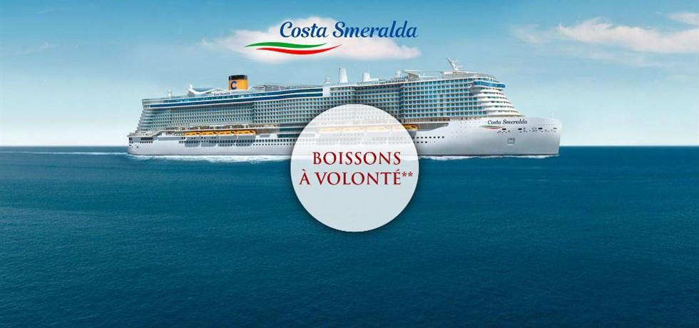 -50% sur le deuxième passager et Boissons à volonté incluses** Croisière A bord du Costa Smeralda 5*, Le Tout Nouveau Fleuron du Costa