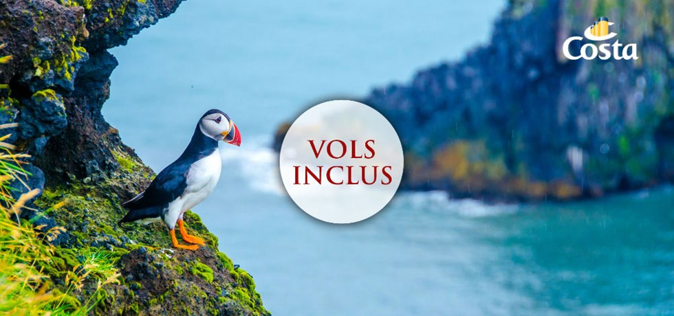 -50% sur le deuxième passager et Boissons à volonté incluses** Vols inclus 15 jours Croisière Islande et Ecosse