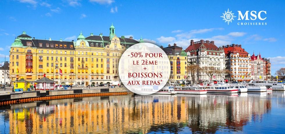 -50% pour la 2e pers. et Boissons aux repas offertes** ! Vols inclus Capitales de la Baltique :  Danemark, Allemagne, Suède, Estonie, Russie