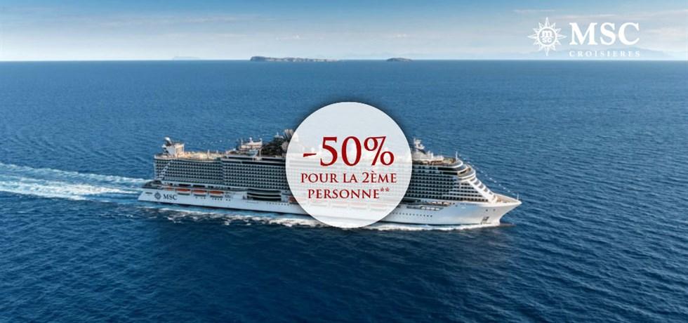 -50% pour la 2ème personne A bord du MSC SEAVIEW 5* Espagne, Majorque, Italie