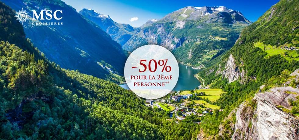 -50% pour la 2ème personne**  A bord MSC Virtuosa 5* Fjords de Norvège