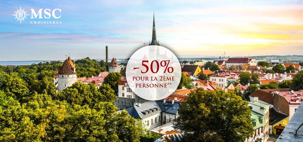 -50% pour la 2ème personne** A bord du MSC Virtuosa 5* Capitales de la Baltique
